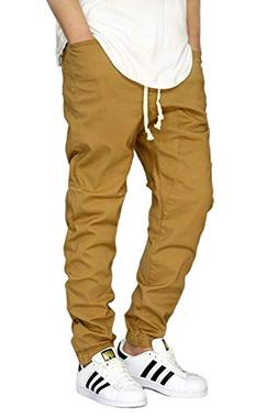 Victorious Men's Wheat Twill Drop Crotch Jogger Pants