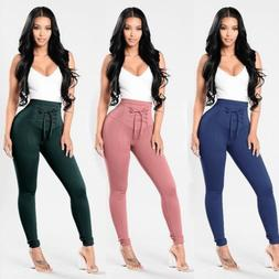 Woman's High Waist Pants Jogger Casual Stretchy Slacks Trous