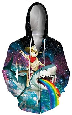 Leapparel Women 3D Hoodie Cool Captain Cat ON Shark Full Zip