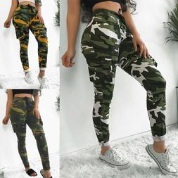 Women Jogger Pants Cargo Military Army Camo Combat Casual Tr