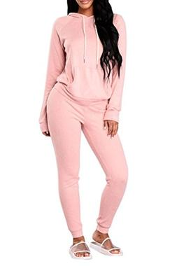 Selowin Women Casual Solid Pullover Hoodies and Jogger Sweat