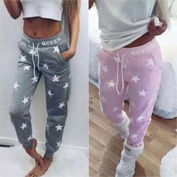 Women Casual Star Print Legging Sweatpants Sports Joggers Cu