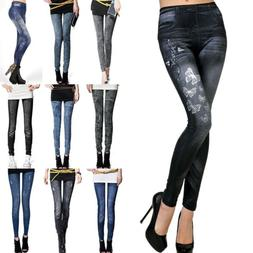 Women Denim Leggings Look Jeans Jeggings Stretch Skinny Casu