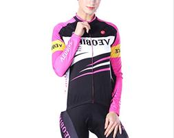 Epinki Women Fall Winter Cycling Shirt Black Pink for Outdoo