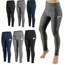 Women High Waisted Yoga Leggings Pocket Fitness Sport Gym Wo