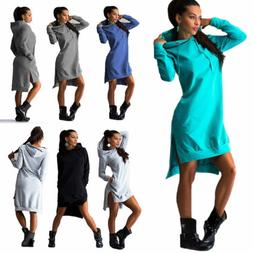 Women Hooded Hoodie Dress Casual Long Sleeve Sweatshirt Pull
