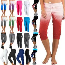 Women Joggers Tracksuit Bottoms Cropped Leggings Yoga Fitnes