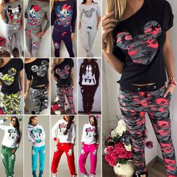 Women Mickey Mouse Tracksuit T Shirt Hoodie Sweatshirt + Pan