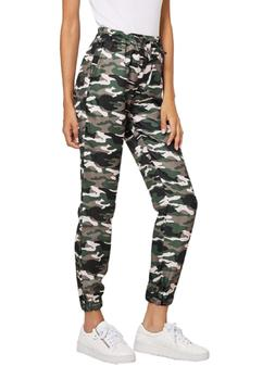 SweatyRocks Women Pants Camo Print Casual Drawstring Tie Wai