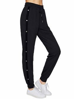 SweatyRocks Women Pants Color Block Casual Tie Waist Yoga Jo