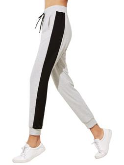SweatyRocks Women Pants Colorblock Casual Tie Waist Yoga Jog