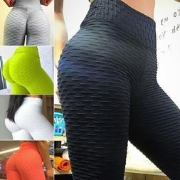 Women Ruching Push Up Leggings Yoga Apparel Anti Cellulite S