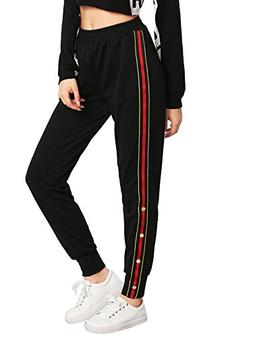 women s button and striped side jogger