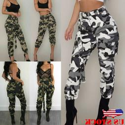 Women's Camo Trousers Casual Military Army Joggers Cargo Lon