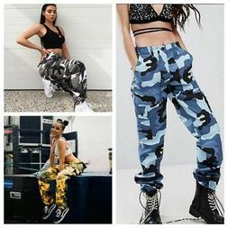Women's Camo Trousers Casual Military Army Sports Joggers Ca