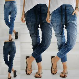 Women's Casual Denim Joggers Pants Ladies Drawstring Elastic