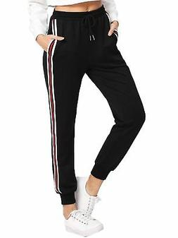 SweatyRocks Women's Drawstring Waist Striped Side Jogger Swe