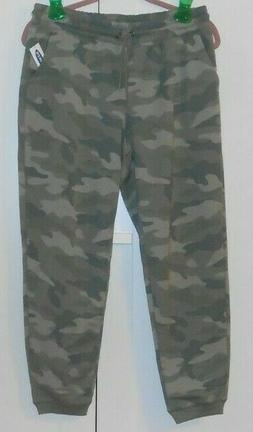 WOMEN'S OLD NAVY GREEN CAMO FRENCH TERRY JOGGERS - SIZE MEDI