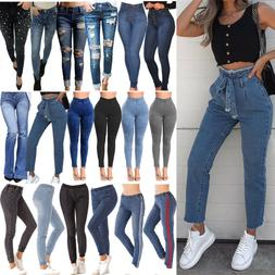 Womens Plus Size High Waist Skinny Stretchy Casual Jeans Jeg