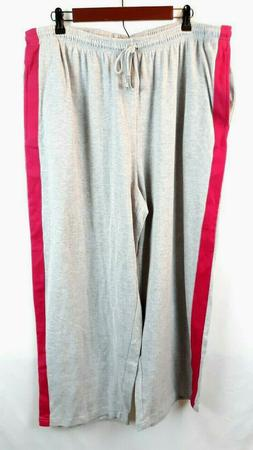 Woman Within Women's Jogging Pants Grey Pink Striped Front P
