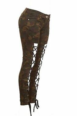 CG JEANS Women's Juniors Army Camo Camouflage Skinny Ladies
