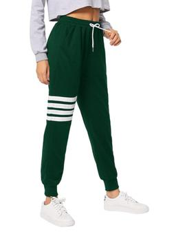 SweatyRocks Women's Pants Color Block Casual Tie Waist Yoga
