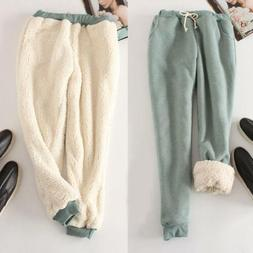Women's Sport Pants Thicken Fur Lined casual Loose Joggers T