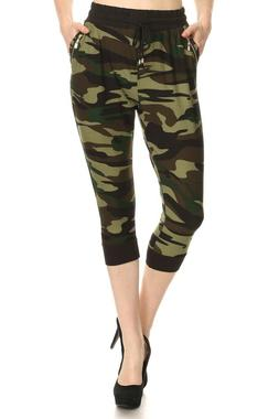 LA12ST Women's Stretchy Slim Fit High Quality Solid Camoufla