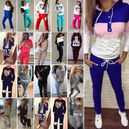 Women Tracksuit Hoodies Sweatshirt Pants Set Jogger Sport We