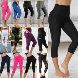 Women Yoga Pants Athletic Stretch Fitness Gym Butt Lift Capr