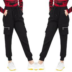 Women High Waist Cargo Combat Pants Solid Punk Loose Long Sp