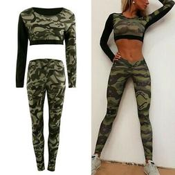 Womens Camo Sports Gym Tops Pants Trousers Workout Yoga Jogg