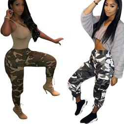 Womens Camouflage Pants Camo Casual Cargo Joggers Cotton Hip