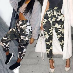 Womens Camouflage Pants Camo Casual Cargo Joggers Trousers H