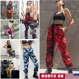 womens casual camouflage pants camo cargo joggers