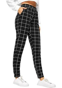 womens casual high waist plaid leggings stretch
