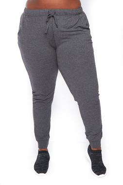 Womens Casual Plus Size French Terry Solid Drawstring Jogger