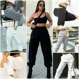 Womens Cuffed Joggers Sweatpants Ladies Bottoms Jogging Gym