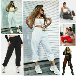 womens fleece casual oversized jogging joggers cuffed