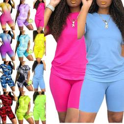 Womens Gradient Clothes Tracksuit Sets Summer Jogger Cycling