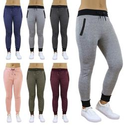 Womens Jogger Sweatpants French Terry Slim Fit Pockets Loung
