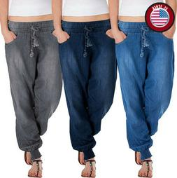 Womens Loose Jogger Jeans for Women Casual Solid Pants Sprin