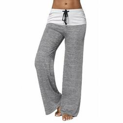 Womens Loose Yoga Palazzo Pants Casual Wide Leg Trousers Ath