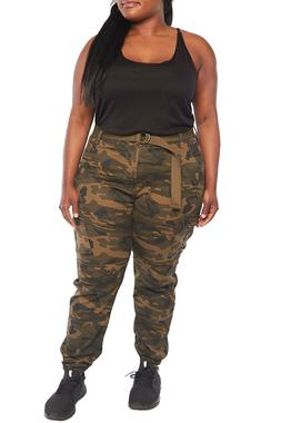 Womens Plus Size Camo Military Cargo Belted Long Jogger Pant