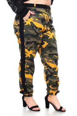 Womens Plus Solid Camouflage Casual Side Stripe Belted Long