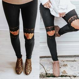 Womens Skinny Lace Ripped Long Pants Ladies Summer Joggers G