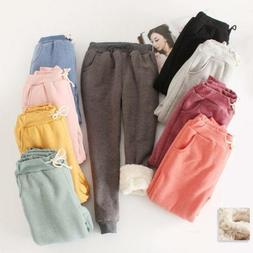 Womens Warm Sport Pants Thicken Fur Lined Casual Loose Jogge