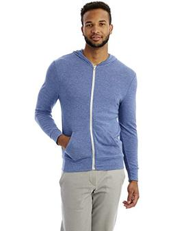 Alternative Men's Eco Zip Hoodie Sweatshirt, Eco Pacific Blu